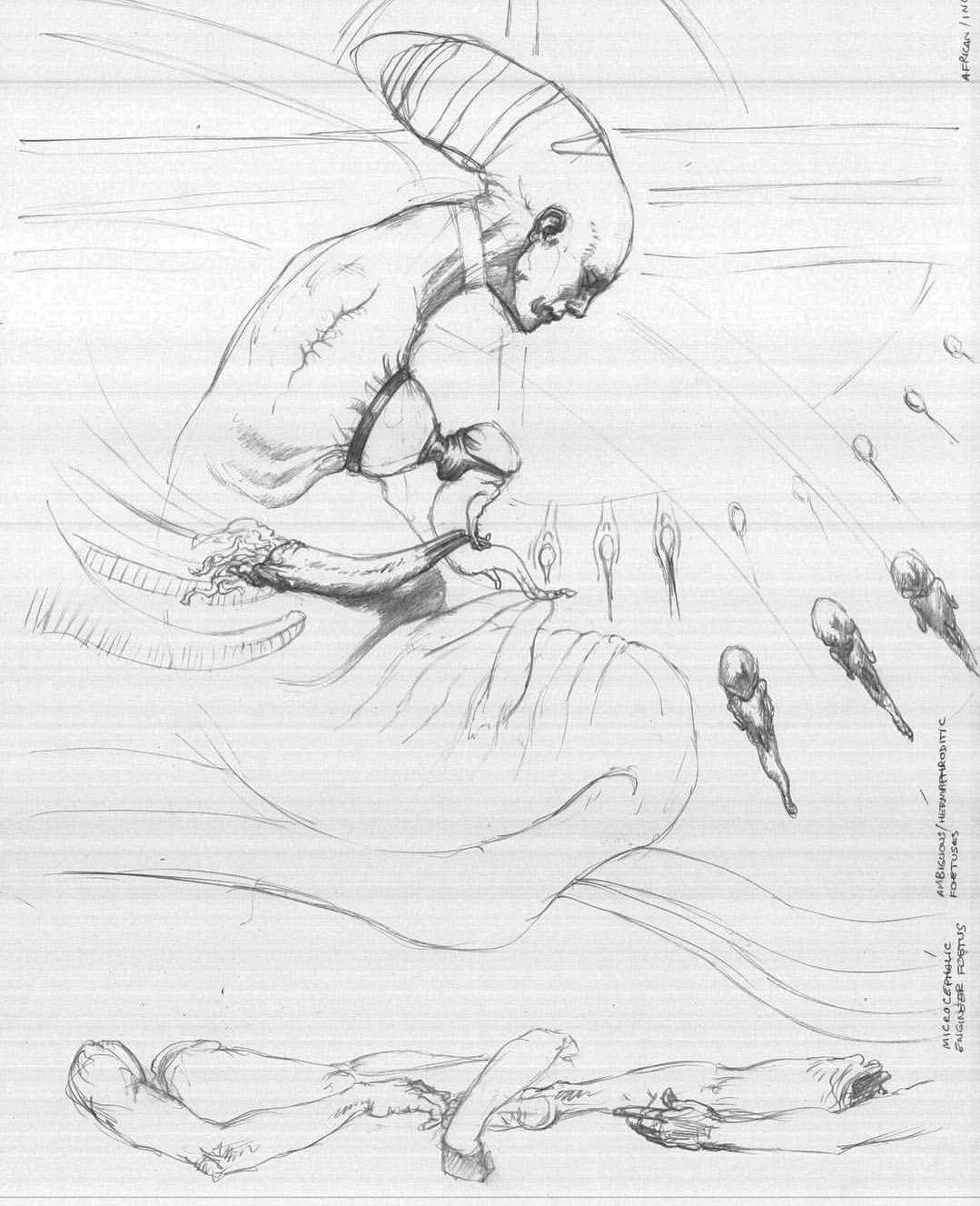 Matt Hatton, один из художников работавший над концептами Чужой Завет, выложил в своем Instagramранее отвергнутые Скоттом концепты одержимости Дэвида доктором Шоу.